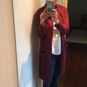 Burgundy Long Cardigan by Leith